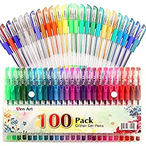 100 Color Glitter Gel Pen Set, 30% More Ink Neon Glitter Coloring Pens Art Marker for Adult Coloring Books Bullet Journaling Crafting Doodling Drawing