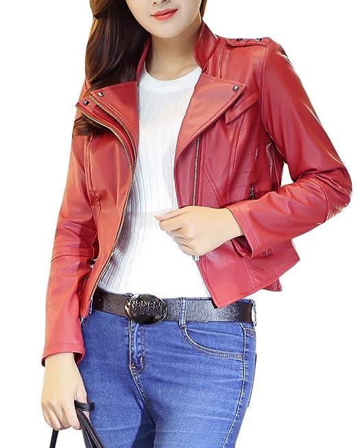 Quge Giacca Donna di Ecopelle Corta Giubbotto Giacche con Zip Tumblr Slim  Cappotto  Amazon.it  Abbigliamento 919e450a74d