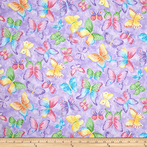 Fabric Traditions Butterflies Glitter Purple Yard