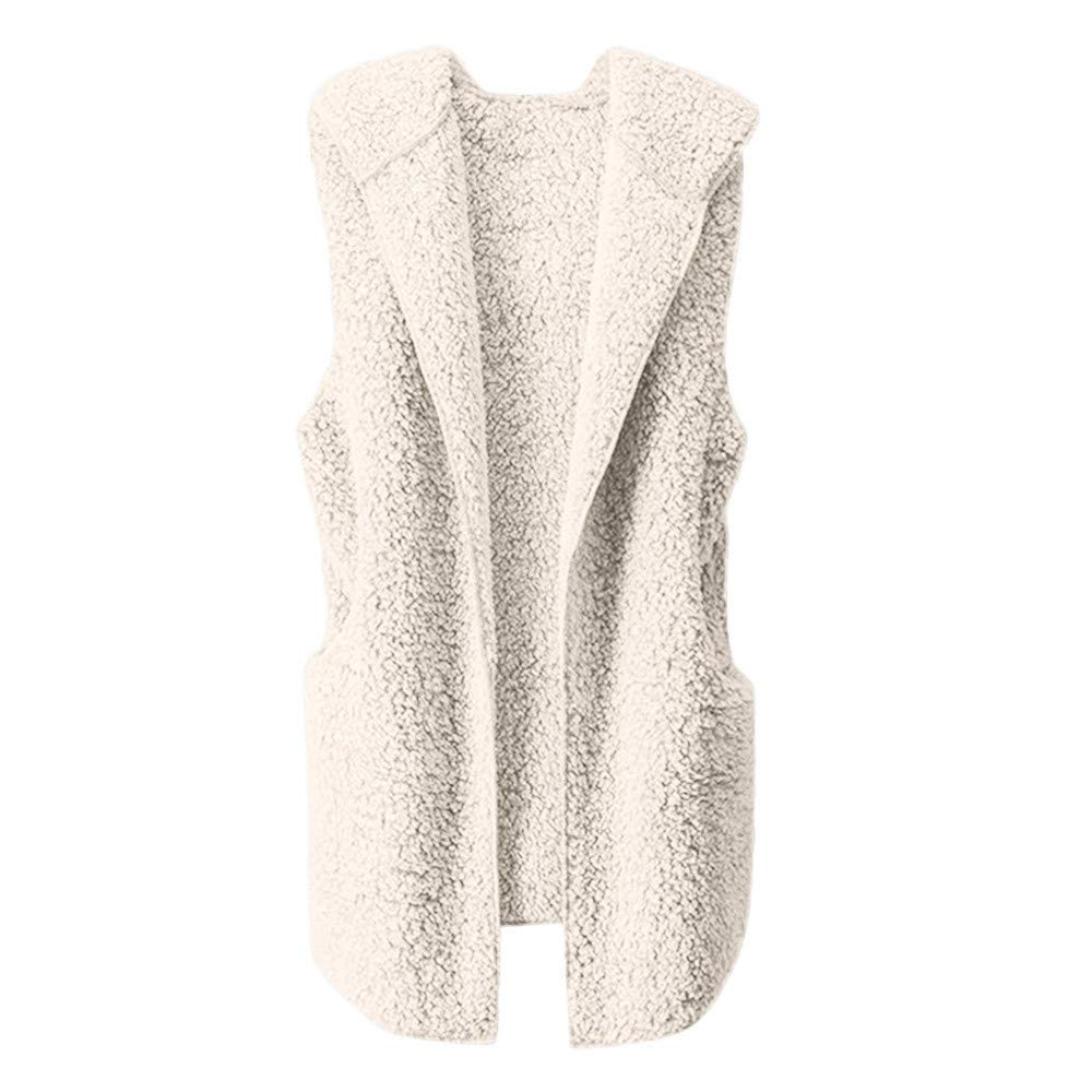 Lmx+3f Womens Plush Vest Winter Warm Hoodie Outwear Casual Sleeveless Coat Jacket Solid Color Soft Comfy Coats Beige by Lmx+3f Coat (Image #1)