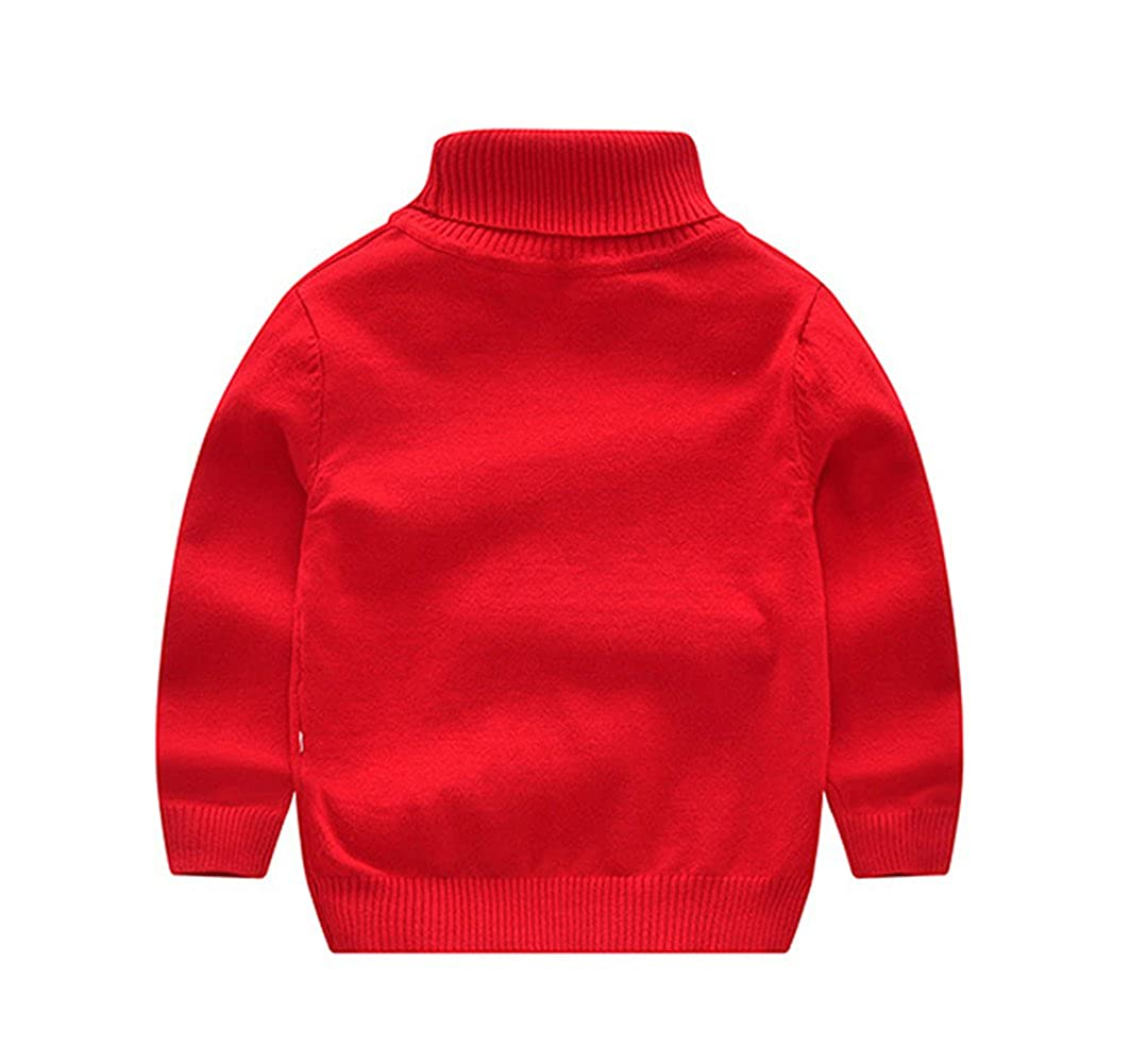 Tortor 1Bacha Little Boy Girl Turtleneck Neck Solid Knit Pullover Sweater
