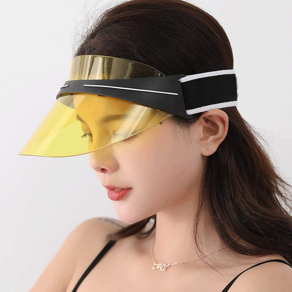 Sun Visor Cap Summer UV Protection Sport Sun Visor Hat for Women Men with Adjustable Elastic Strap and Transparent PC Lenses
