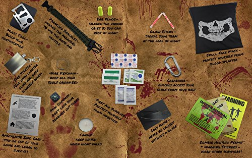 Zombie-Apocalypse-Survival-Kit-by-Citadel-Black-Knife-Multi-tool-Fire-Starter-Skull-Mask-Zombie-Hunting-Permit-First-Aid-And-More