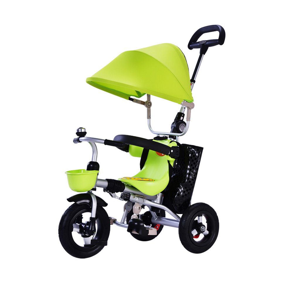 Strollers Stainless Steel Folding Children's Baby Tricycle Height Adjustable Portable Child Bicycles 6 Months - 6 Years Old Baby Trolley Baby Products Strollers (Color : Green)