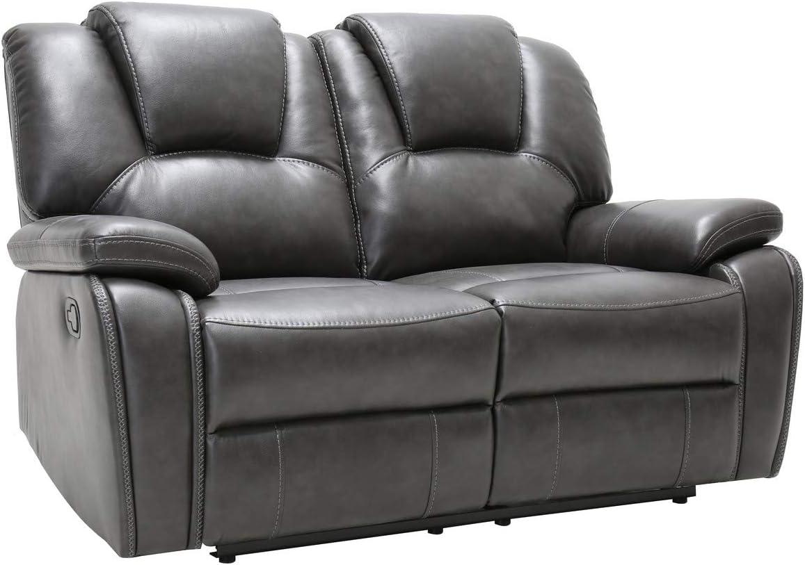 Blackjack Furniture Stefano Modern Upholstered Living Room Reclining, Power Loveseat, Gray