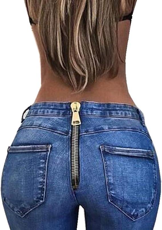 GUOCU Pantalones Vaqueros Mujer Slim Fit Cremallera Trasera Transpirable Cintura Alta Moda Largos de Mezclilla Jeans Delgados