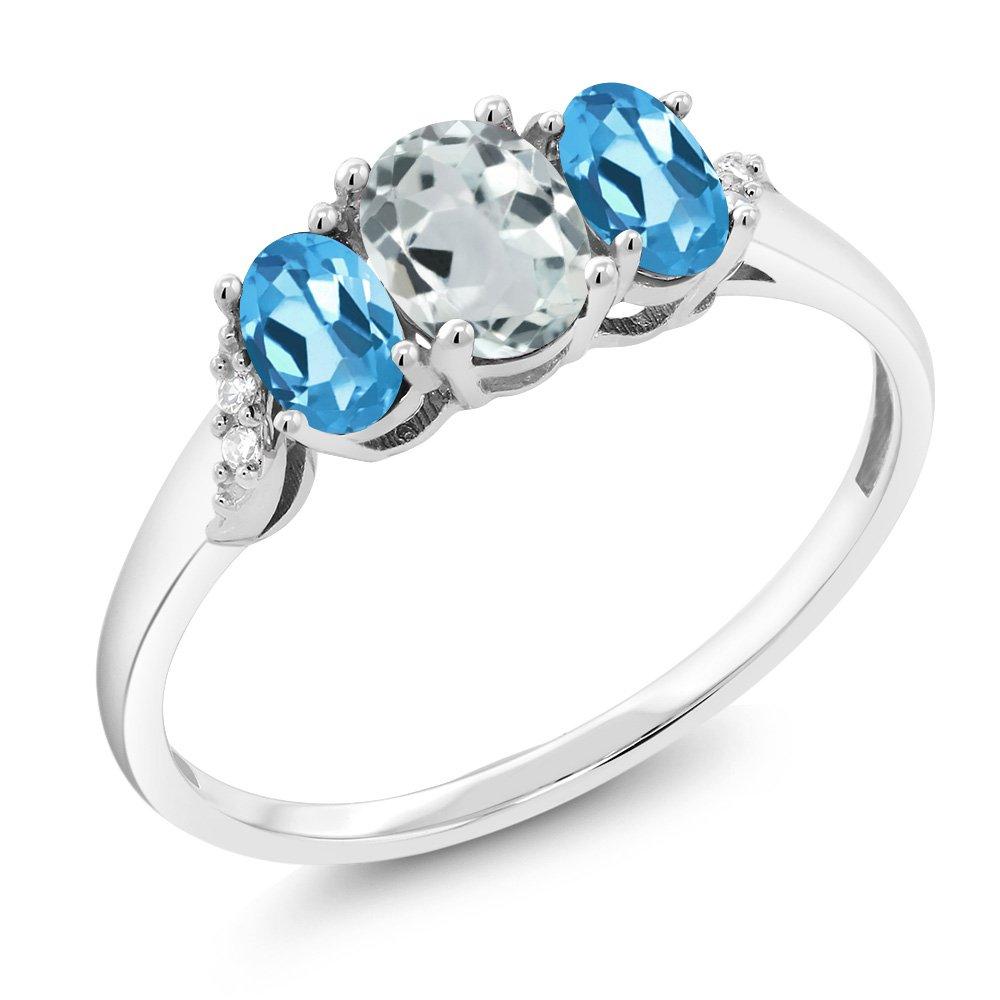 10K White Gold 1.06 Ct Sky Blue Aquamarine Swiss Blue Topaz 3-Stone Ring With Accent Diamond (Ring Size 6)