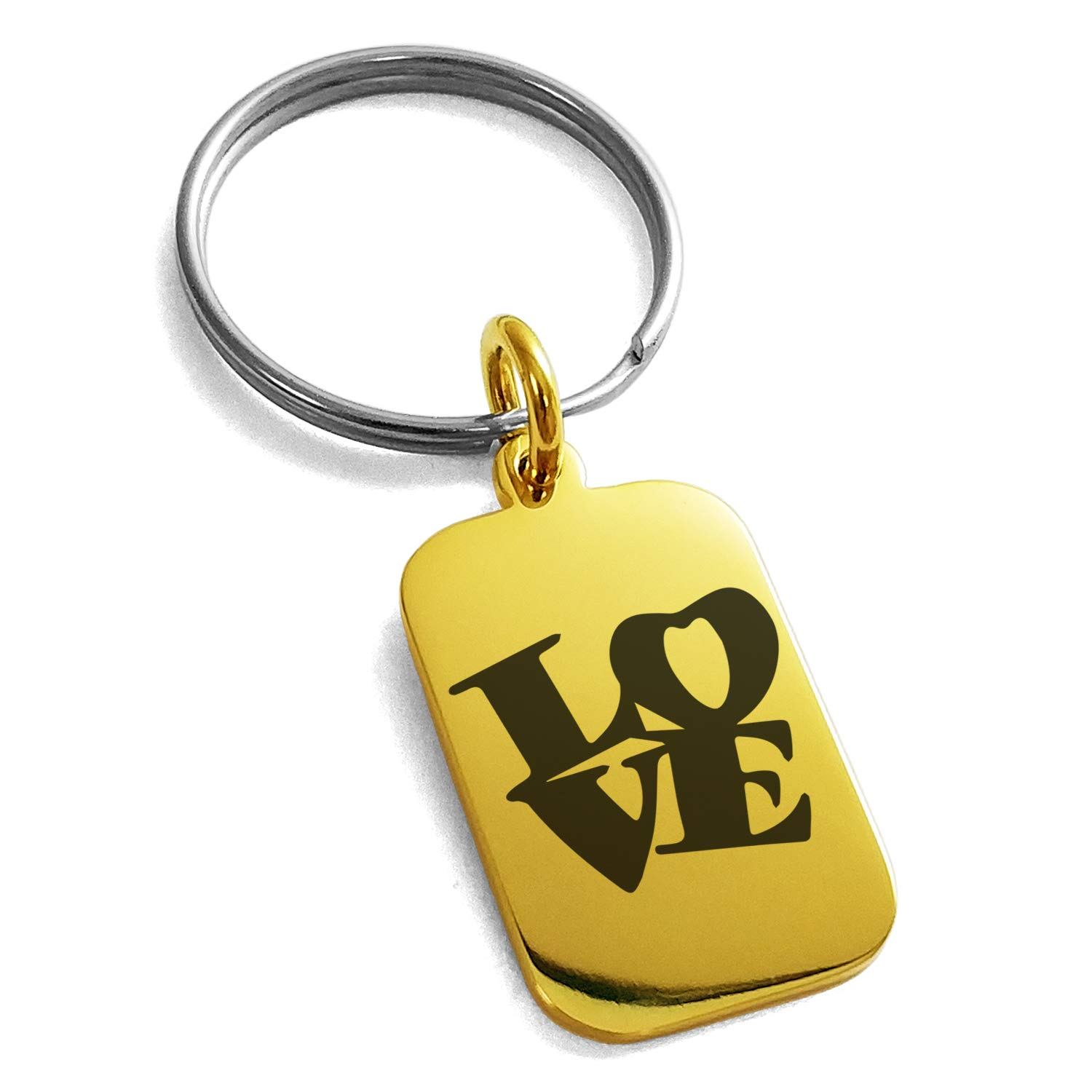 Tioneer Gold Plated Stainless Steel Love so Iconic Engraved Small Rectangle Dog Tag Charm Keychain Keyring