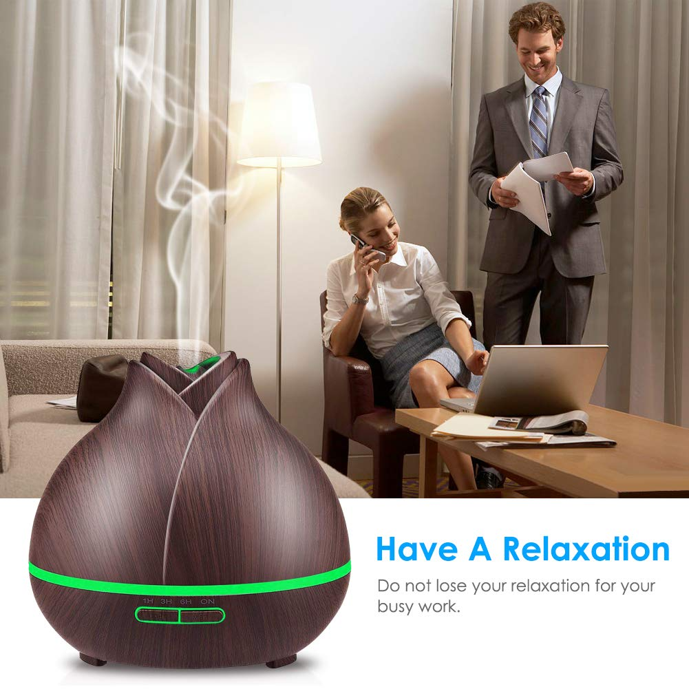 URPOWER 400ml Wood Grain Running 10 Hours Aromatherapy Diffuser for Essential Oils with 2 Mist Modes