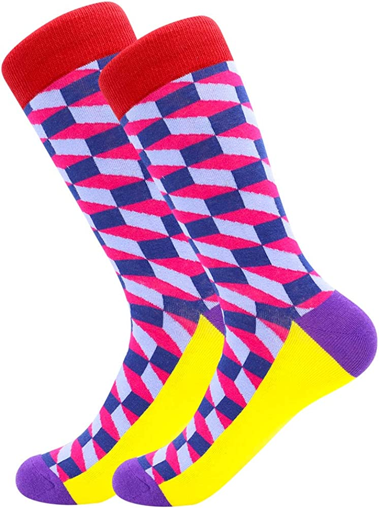 Colorful Funky Socks for Men Fancy Novelty Funny Patterned Casual Combed Cotton Office Socks,Mid Calf Cool Crazy Socks Unique /& Striking Design Mens Fun Dress Socks