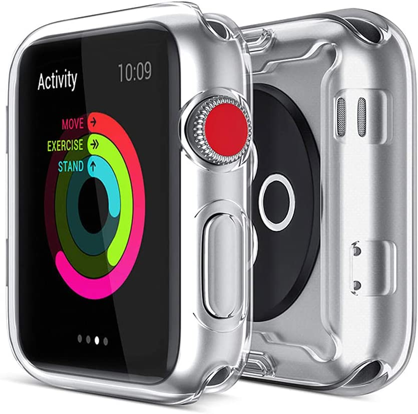 HANKN 2 Pack Compatible with Apple Watch Series 3 2 Screen Protector Case, Soft TPU Full Coverage iWatch Cover Bumper, Clear+Clear, 38mm
