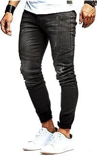 LEIF NELSON Herren Jeanshose Biker Jeans gesteppt Hose Stretch Schwarz Denim  Slim Fit LN9920 d0a324d9c4