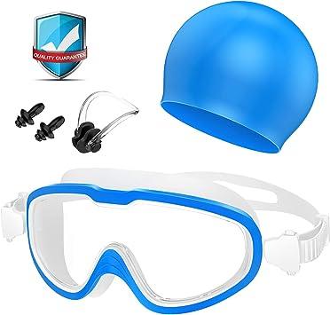 Comprar Gafas de Natación, Profesional Anti Niebla Sin Fugas Protección UV Marco grande Gafas para Nadar con Libre Clip de Nariz Enchufe de oído Gorro de baño para Hombres Mujeres Adultos Niños de la Juventud