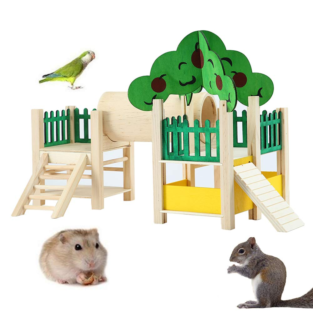 MJuan-clothing,Hamsters Toys Small Pets Accessories,Cute Small Animal Pet Hamster Sleeping House Cabin Cage Ladder Nest Castle Toy - Wood Color by MJuan-clothing