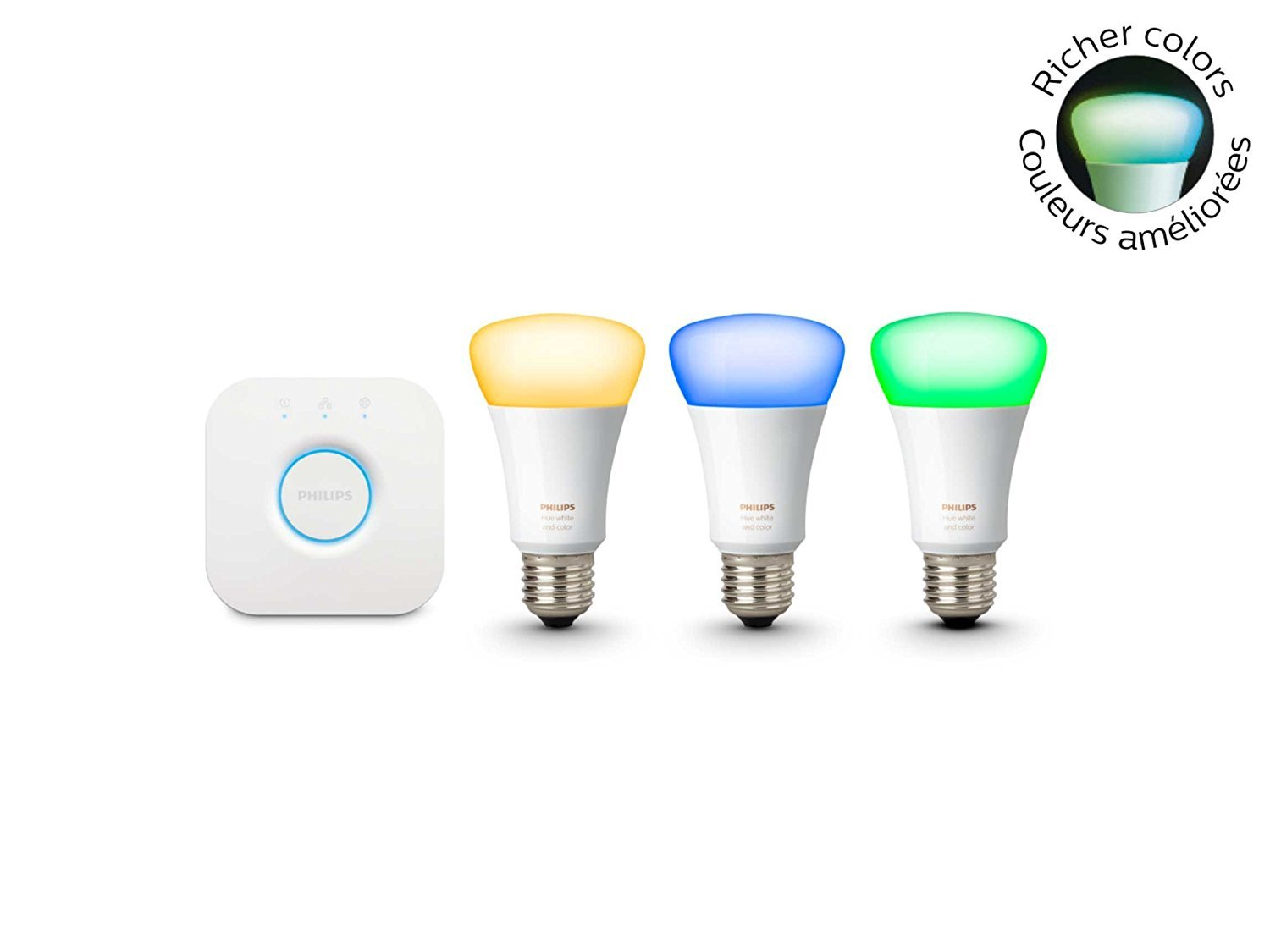 Philips Hue 464479 White and Color Ambiance A19 Starter Kit, 3rd Generation with Richer Colors, Works with Amazon Alexa (Certified Refurbished) by Philips (Image #3)