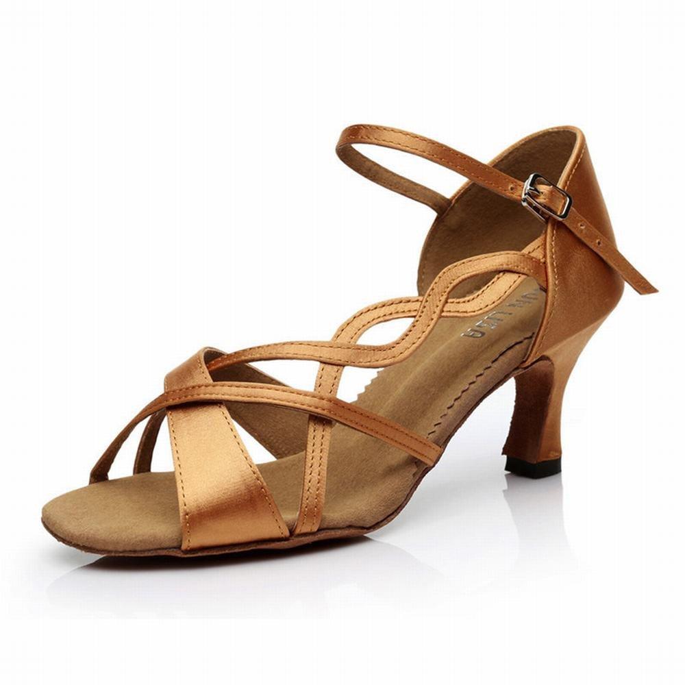 OneCouleur 37 EU BYLE Sangle de Cheville Sandales en Cuir Chaussures de Danse Modern'Jazz Samba Chaussures de Danse Latine Danse amitié Adultes Soft Bas Talons Hauts Chaussures de Danse marron 7CM