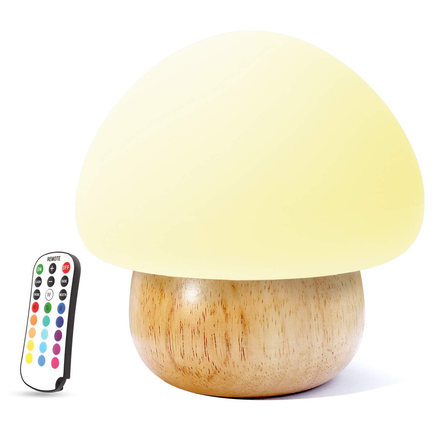 Night Lights for Kids, ACELONE Baby LED Mushroom Night Lamp, Soft Silicone Lampshape, 100% Wood, 4 Light Modes and 16 Color by Wireless Remote - USB Plug WL02