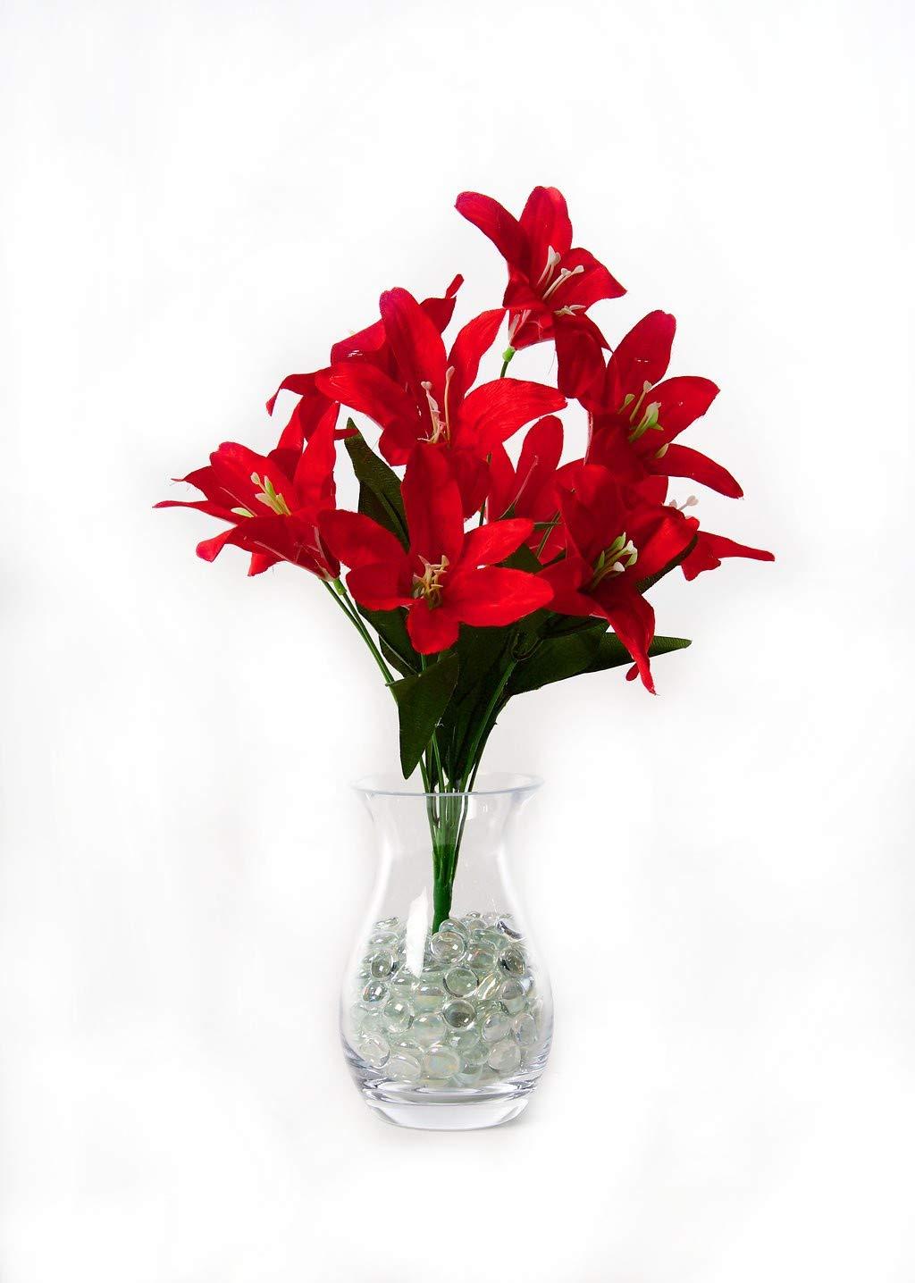 Best Artificial 45cm Stargazer Lillies 10 Head Flower lily Spray Bunch (Blue)