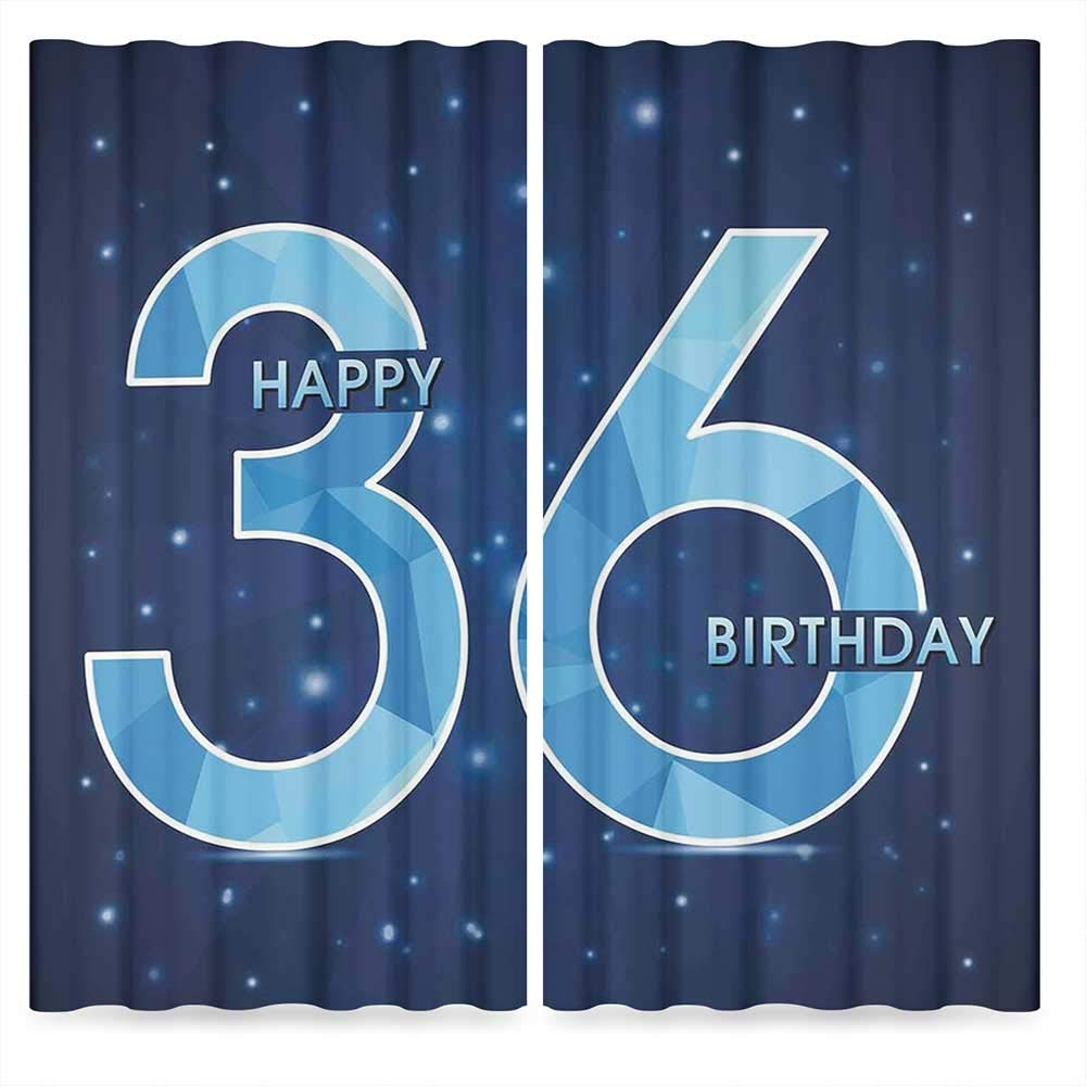 36th Birthday Decorations Decor Collection,Dots Star Space Inspired Stage with 36 Number Print,for Bedroom Living Dining Room Kids Youth Room, 2 Panel Set, 28W X 39L Inches