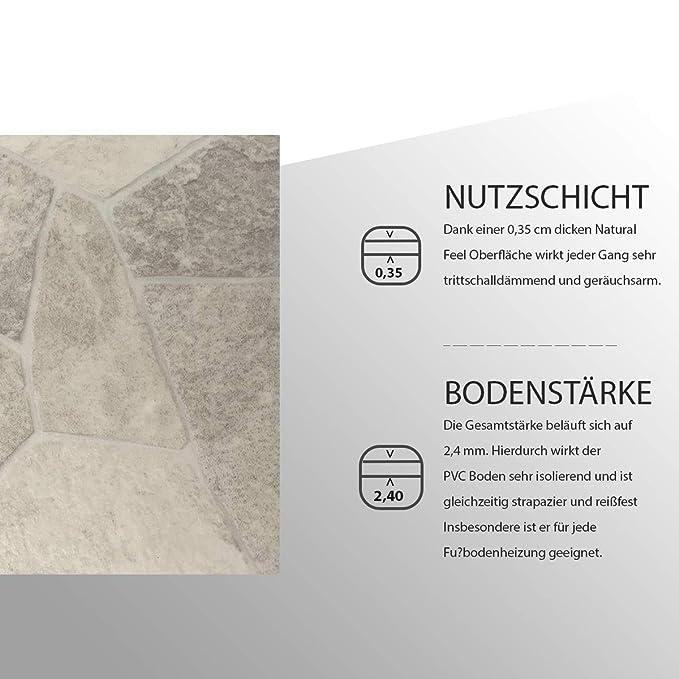 CV PVC-Belag verf/ügbar in der Breite 200 cm /& L/änge 250 cm Made in Germany CV-Boden wird in ben/ötigter Gr/ö/ße als Meterware geliefert /& pflegeleicht PVC Vinyl-Bodenbelag in Bruchstein hell Optik