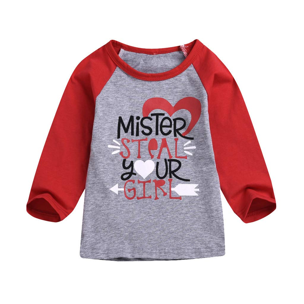 4fe717105 Amazon.com: GoodLock Baby Girls Fashion Tops Toddler Kids Valentine's Day T  Shirt Letter Printed Tops Pullover Clothes: Clothing
