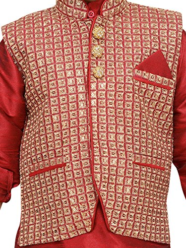 AJ Dezines Kids Indian Wear Bollywood Style Kurta Pyjama Waistcoat for Boys (617-MAROON-7) by AJ Dezines (Image #4)