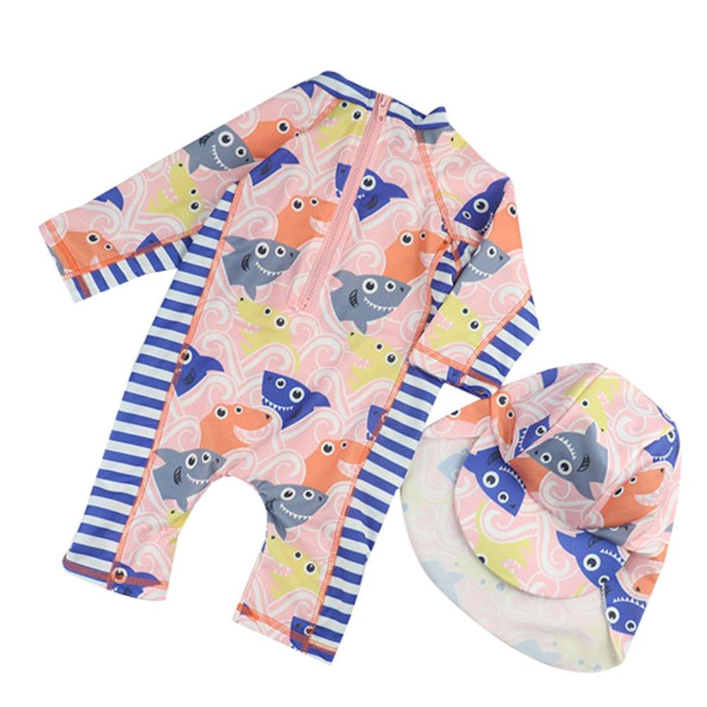 Sun Protective Baby Boys Swimsuit Toddlers One Piece Swimwear with Hat Shark Rash Guard UPF 50+