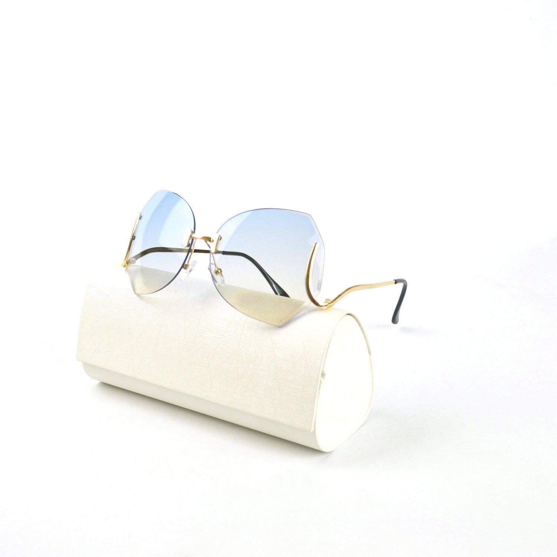 4644507fd8 Amazon.com  MINCL unique Design Rimless Sunglasses Clear and Color With Box  (gold