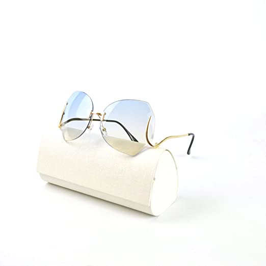9581972b6351 Amazon.com  MINCL unique Design Rimless Sunglasses Clear and Color ...