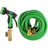 Expandable Garden Hose - 50 ft Best Flexible Expanding Water Hose  - 10 Function Spray Nozzle Set -  Solid Brass Fittings, Triple Latex Pipe, Strongest Green Webbing, Lightweight  Kinkfree
