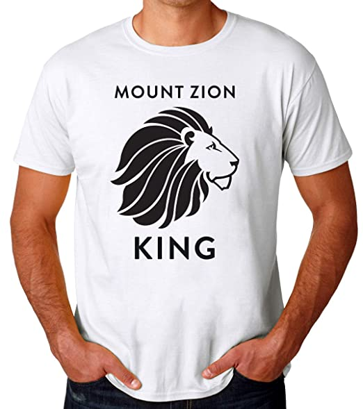 Mount Zion King Lion of Judah Rasta Camiseta para Hombres: Amazon ...