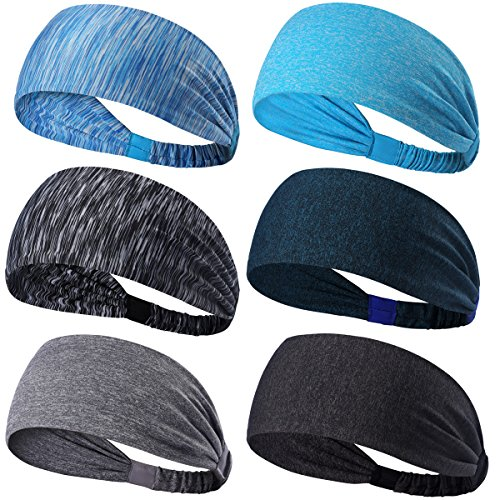 - Dreamlover 6 Pack Yoga Sports Headband, Women's Elastic Athletic Hairband, Men's Sweatband, Lightweight Working Out Headbands