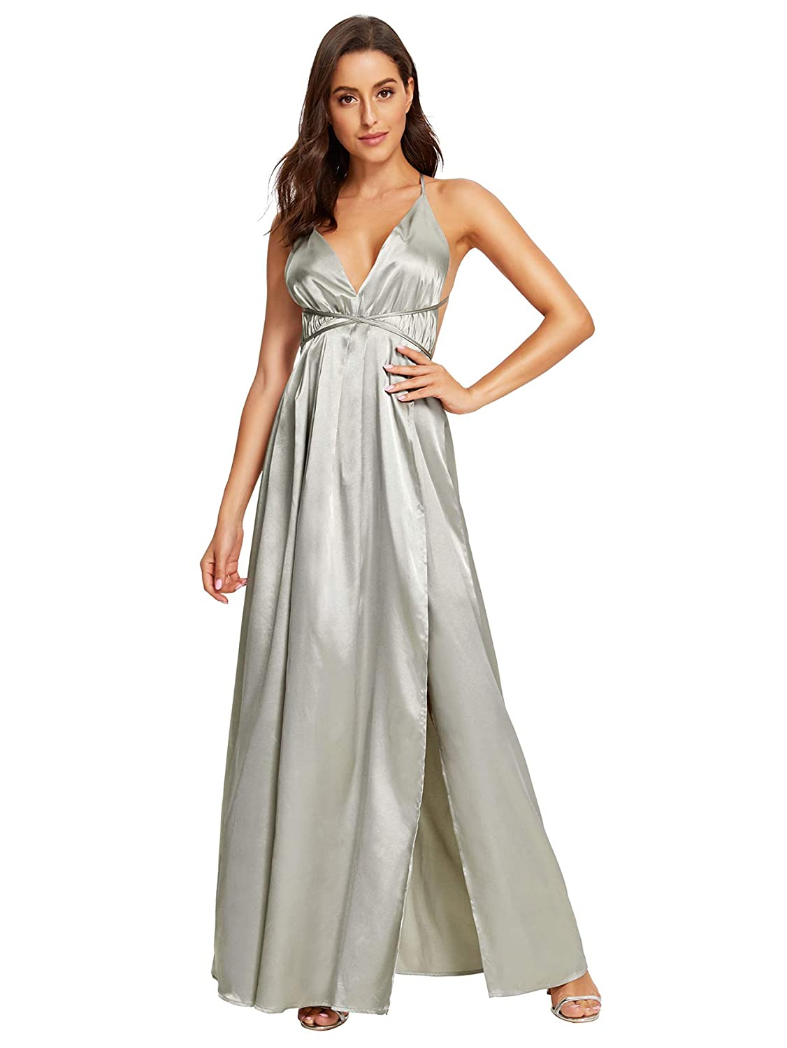 d3fa807dd8 SheIn Women's Sexy Satin Deep V Neck Backless Maxi Party Evening Dress at  Amazon Women's Clothing store:
