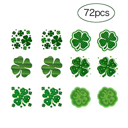 88fe7306711b6 Amazon.com: CCINEE Shamrock Patterned Tattoos Irish Clover Temporary Tattoo  Stickers for St. Patrick's Day Accessories (6 Dozens): Toys & Games