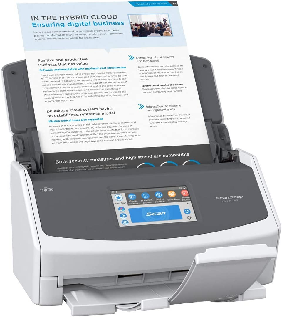 Current Model, 2018 Release Renewed Fujitsu ScanSnap iX1500 Color Duplex Document Scanner with Touch Screen for Mac and PC