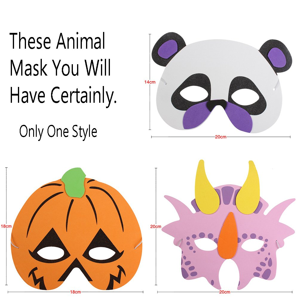 6MILES 12 PCS Assorted Foam Cartoon Animal Masks for Birthday Halloween Party Favors Jungle Dress-Up Costume Cosplay A06170811A01