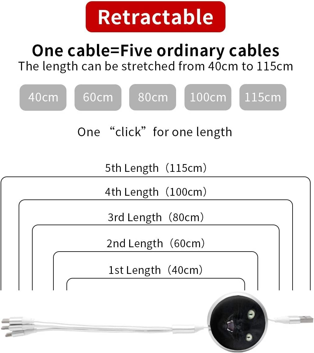 Cool Black Cat Round Telescopic Aluminum Alloy Shell Charging Cable Three-in-One Data USB Cable Phone Charger