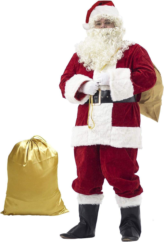 Ahititi Trajes de Papá Noel para Hombres, Conjunto de Disfraces de Navidad de Terciopelo de Lujo para Adultos (10 pcs) 2XL