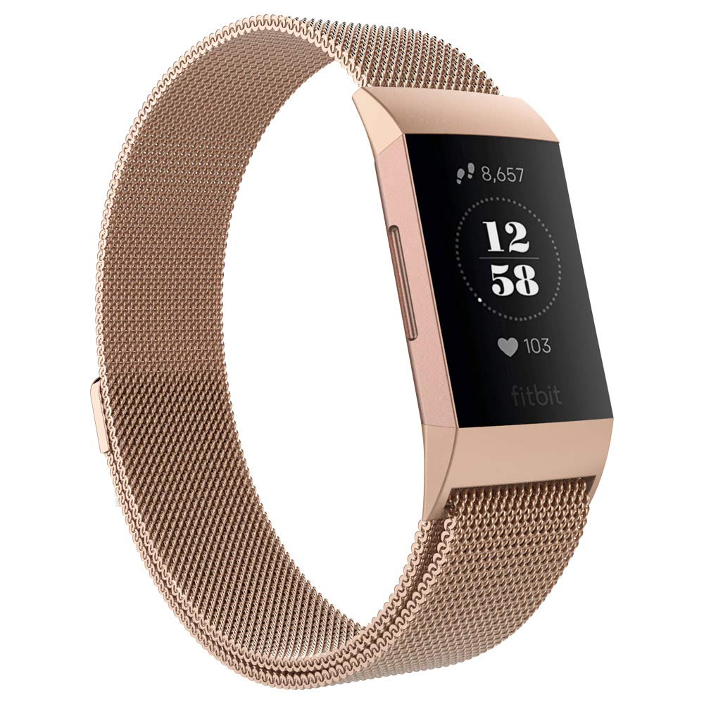 UMTELE Compatible for Fitbit Charge 3 /& Charge 3 SE Bands Metal Stainless Steel Milanese Loop Mesh Bracelet with Magnetic Closure Replacement Wristband
