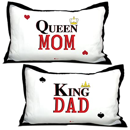 Indigifts Parents Gift King Dad Queen Mom Quote White 17x27 Inches Pillow Covers Set Of