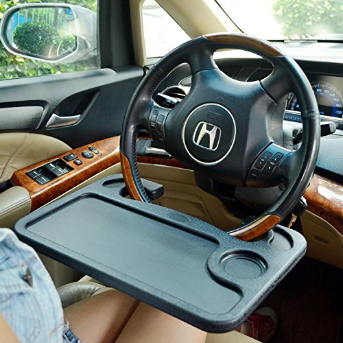 TrueLine® Portable Steering Wheel Table Attachment For Eating Laptop ipad Desk (BLACK)