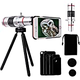 18X Telephoto Lens for iPhone - Yarrashop Aluminum Telephoto Lens Telescope Camera Lens + Tripod + Phone Case + Velvet Bag + Cleaning Cloth for iPhone 7 Plus/ 7/ iPhone 6s Plus/ 6s/ 6 Plus/ 6/ 5s/ 5