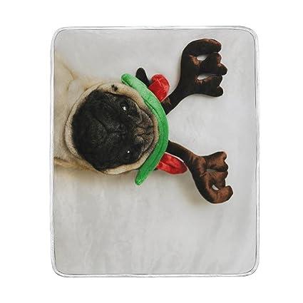 1ecb5c2ec39 ALAZA Blankets Lovely Dog Merry Christmas Puppy Crystal Velvet Throw Blanket  for Bed 50 x 60