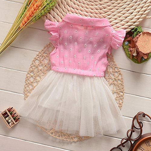 Baby Girls Floral Tulle Tutu Dress Princess Bowknot Skirt 18-24 Months Pink