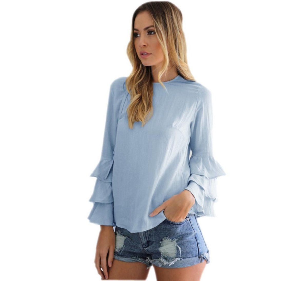 Fheaven Women Fashion Loose Casual Folding Sleeves Long Sleeve Blouse (XL, Blue)