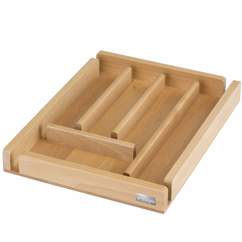 Artelegno Solid Beech Wood 5 Compartment Cutlery Storage or Flatware Holder, Luxurious Italian Collection by Master Craftsmen Stores High-End Eating Utensils, Eco-friendly, Natural Finish