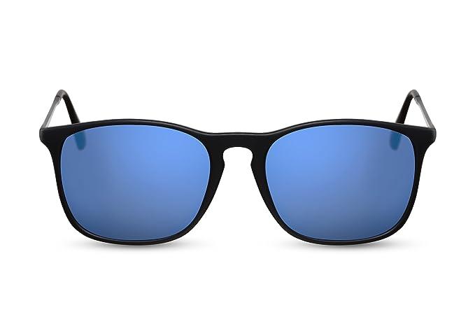Cheapass Gafas de Sol Espejos Azul Negro Rectangulares ...