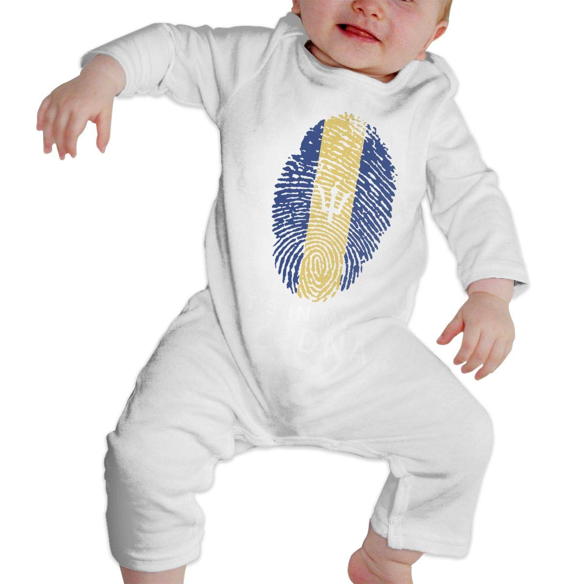 Infant Babys Cotton Long Sleeve Barbados in My DNA Barbados Flag Fingerprint Jumpsuit Romper One-Piece Romper Clothes