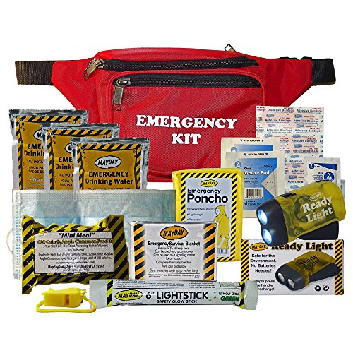 One Day Emergency Survival Fanny Pack [6 Pieces] *** Product Description: 1 - 2 Pocket Fanny Pack 3 - Mayday Water Pouches 1- 400 Calorie Food Bar 1 - Whistle W/ Lanyard 1 - Solar Blanket 1 - 12Hr. Lightsticks 1 - Dust Mask 1- Hand Power Flashlig ***