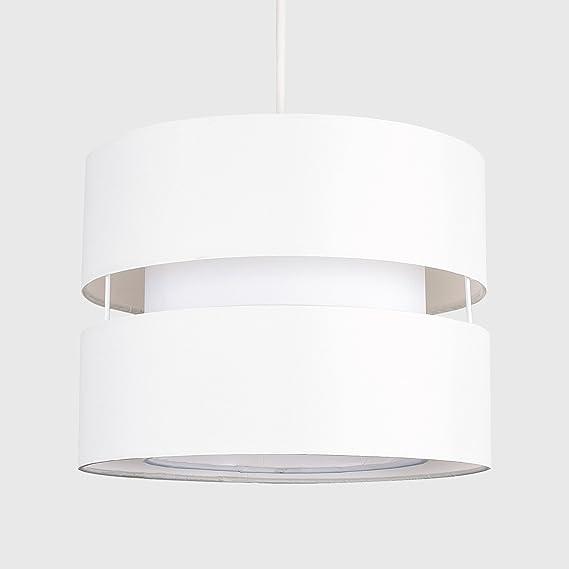 MiniSun - Moderna pantalla para lámpara de techo colgante Sophia - Cilíndrica a dos niveles con acabado en crema: Amazon.es: Iluminación